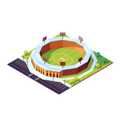 isometric cricket stadium with grass field vector image