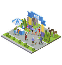Isometric zoo entrance composition vector