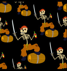 Jolly roger skeleton seamless vector