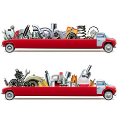 long truck with car spares vector image
