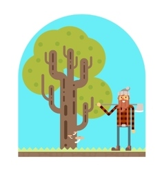 Lumberjack Tree wood nature concept flat design vector
