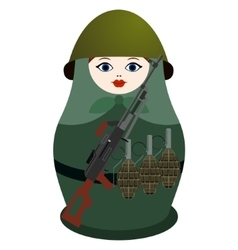 Matryoshka with Kalashnikov machine gun vector
