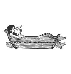 mermaid in boat sketch engraving vector image