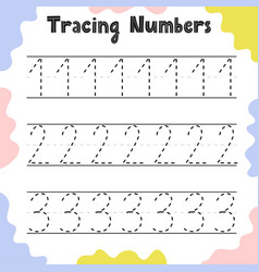 Numbers 1 2 3 tracing practice worksheet for vector
