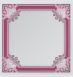 oriental frame on pink chinese pattern background vector image