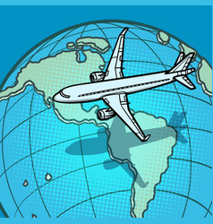 Plane flies over globe america vector