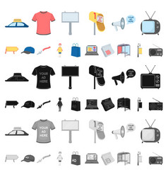 Production of advertising cartoon icons in set vector