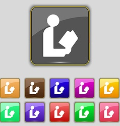 Read a book icon sign Set with eleven colored vector