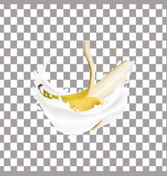 realistic banana and milk splash vector image