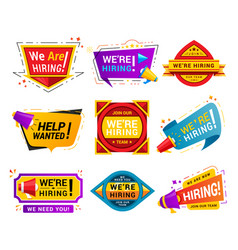 Recruiting agency stickers flat vector