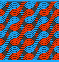 Red and blue embossed interlocking wavy lines vector image
