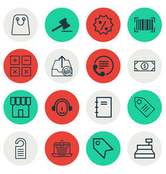 set of 16 ecommerce icons includes ticket till vector image