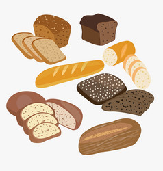 Set of cartoon food bread rye bread ciabatta vector