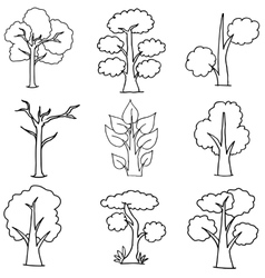 Set of trees on white vector