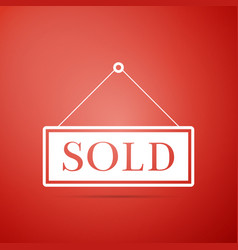 sold sign isolated on red background sold sticker vector image