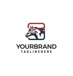 square horse logo design concept template vector image