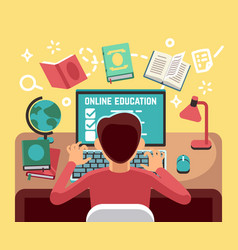 Student or school boy studying on computer online vector