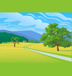 Summer landscape with road vector