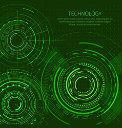 Technology card with set interface templates vector