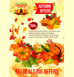 Thanksgiving sale banner of autumn discount offer vector