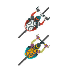 Two bikers man and women with bags on mtb vector