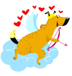 Valentine day dog character dog in cupid or vector