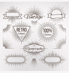Vintage burst shape decoration for typography vector