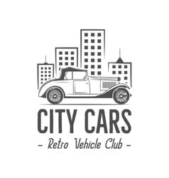 Vintage city car label design Classic auto badge vector
