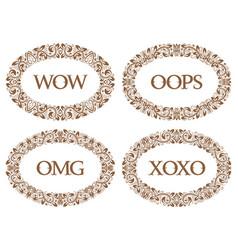 vintage oval frames set with different emotions vector image