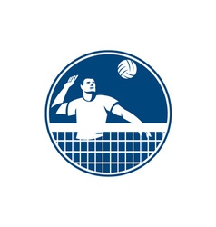 Volleyball Player Spiking Ball Circle Icon vector image