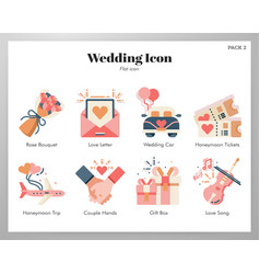 Wedding icons flat pack vector