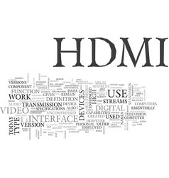 What is hdmi text word cloud concept vector