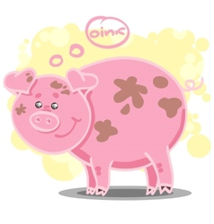 With cute cartoon pig vector