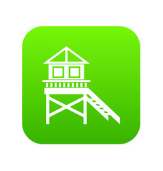 Wooden stilt house icon digital green vector