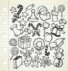 big set of christmas doodles vector image