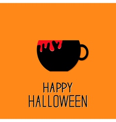 Black tea cup with red blood Happy Halloween card vector image vector image