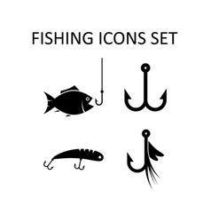 fishing icons set silhouette signs vector image vector image