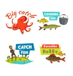 fishing sport and hobby cartoon icon set vector image