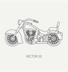 line flat plain motorcycle icon - classic vector image