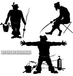 Of life of fishermen vector image
