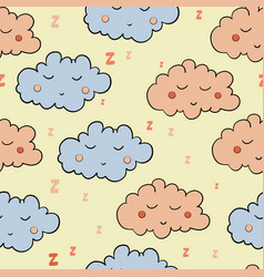 seamless pattern with cartoon sleeping gray and vector image