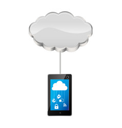 Cloud storage connected with tech tablet device vector