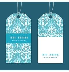 light blue swirls damask vertical stripe frame vector image vector image