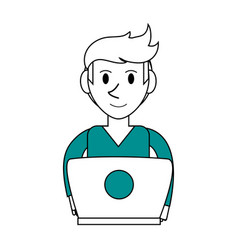 Person desk flat vector
