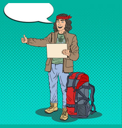 pop art hitchhiking man hipster with backpack vector image
