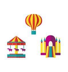 balloon bouncy castle and carousel icon set vector image