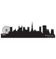 bristol england skyline detailed silhouette vector image