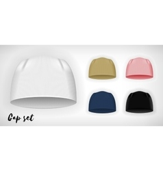 Knitted cap mockup set vector image vector image