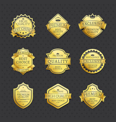set of golden labels best choice premium quality vector image