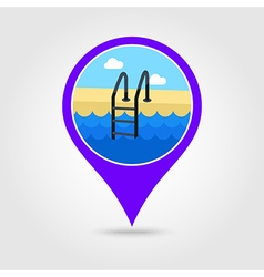 Swimming pool pin map icon Summer Vacation vector image